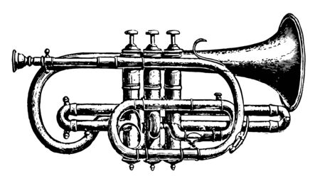 Cornet A Piston can produce with equal facility the seven series of harmonies belonging to the common horns, vintage line drawing or engraving illustration.