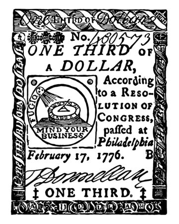 An image showing third dollar promissory note. This Continental paper bill that held almost no value during the revolution, vintage line drawing or engraving illustration.