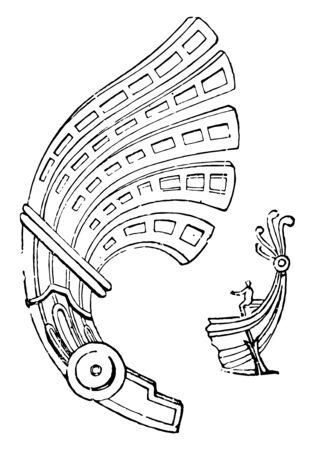 A curved Greek ornament named Aplustria, vintage line drawing or engraving illustration.