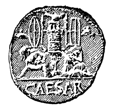 A Roman coin with Caesar written on it, vintage line drawing or engraving illustration.