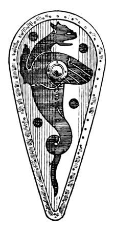 Kite Shield of the 10th or 11th century considered the beginning of the High Middle Ages, vintage line drawing or engraving illustration.