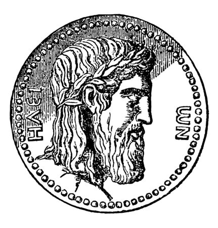 This image shows the coin that indicates the face of Zeus. The upper part of the coin is full of black shadows, vintage line drawing or engraving illustration.