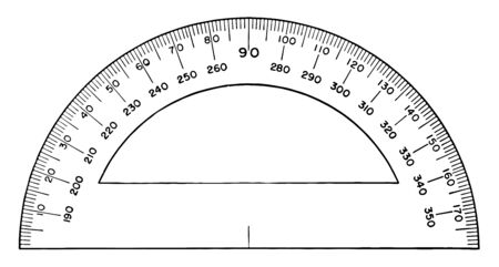 The picture shows the Semicircular Military Protractor. It is used in Military to measure angles. Angle degree starts from left to right, vintage line drawing or engraving illustration.