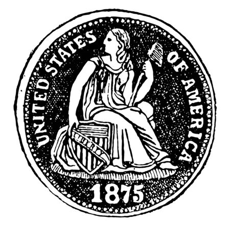 This is the front side of United State dime. Ten percent is worth it. This coin is made of silver, vintage line drawing or engraving illustration.