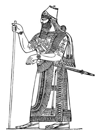 This image shows the Assyrian king, the forehead is low and straight, there is a stick in the kings hand, vintage line drawing or engraving illustration.