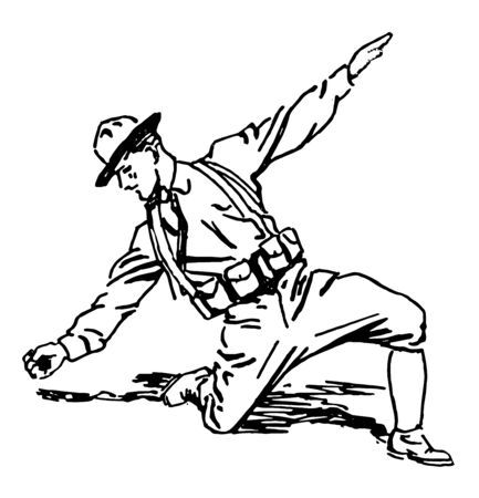 A soldier lying in the prone position throwing a grenade, vintage line drawing or engraving illustration.