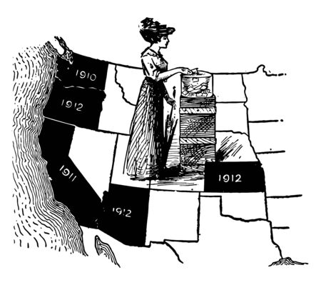 The states of Western half of US are labeled in a map for what year they allowed women to vote vintage line drawing.