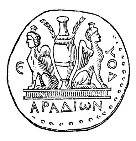 A medal with two sphinxes positioned back to back, vintage line drawing or engraving illustration. Ilustração