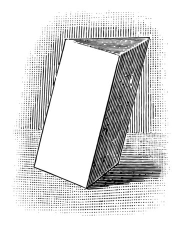 The image shows a triangular prism, a prism whose base is a triangle. A right triangular prism has rectangular sides, otherwise it is oblique, vintage line drawing or engraving illustration.