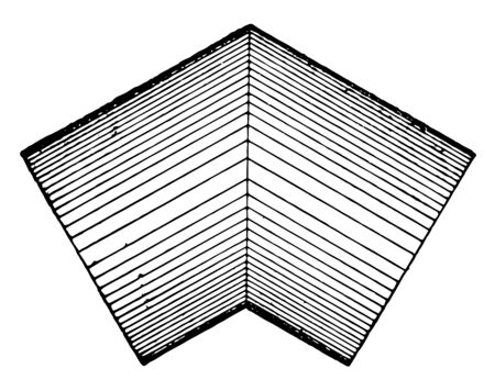 The intersection sample of the same diameter of two cylinders, vintage line drawing or engraving illustration.