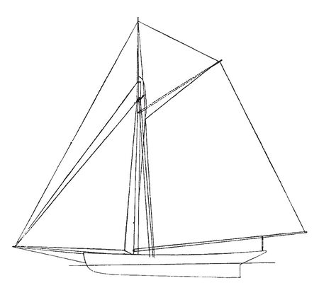 American Sloop is a sailing boat with a single mast and a fore and aft rig, vintage line drawing or engraving illustration.