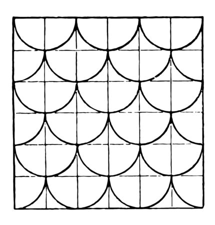 The image shows a beautiful tiling design along with a repetitive design pattern. Square in which there are ten rows and ten columns and joining two columns and rows generates half a circle, vintage line drawing or engraving illustration.