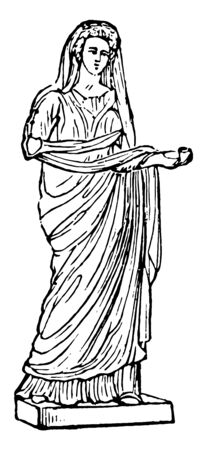 In this image there is a woman. Female dress over the tunic. It seems a silent one, vintage line drawing or engraving illustration.