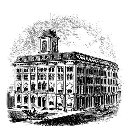 State house is the lower house of the Georgia , historically significant building vintage line drawing. Ilustrace