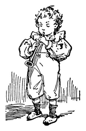 Young Boy Playing Pipe where a young boy playing a small pipe, vintage line drawing or engraving illustration.