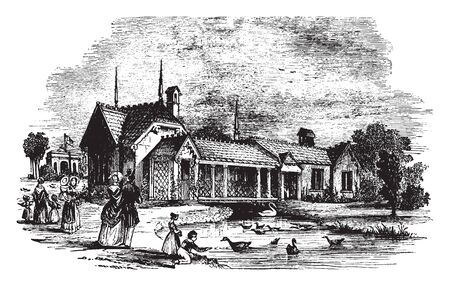 Zoological Gardens in London which was originally intended to be used as a collection for scientific study, vintage line drawing or engraving illustration. Stok Fotoğraf - 132962322
