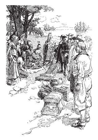 Willam Penn Vertrag mit den Indianern, Vintage-Linien-Zeichnung oder Gravierillustration.