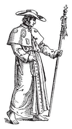 A pilgrim is a traveller, a man with staff, vintage line drawing or engraving illustration