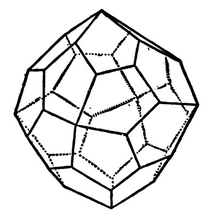 This is the only simple form in this class that differs geometrically from those of the holosymmetric class, vintage line drawing or engraving illustration.