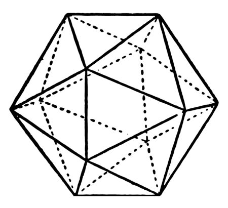The sample Combination of pentagonal dodecahedron and octahedron. A regular icosahedron is a convex polyhedron many faces, edges and vertices, vintage line drawing or engraving illustration. 向量圖像