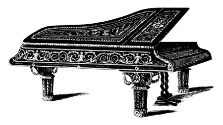 Grand Piano is designed with inlaid ebony and ornamented in gold relief scrolls, vintage line drawing or engraving illustration. Ilustrace
