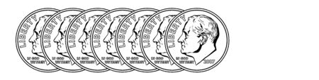 The picture is showing seven Dimes, it has obverse side shown. The total cost is seventy cents, vintage line drawing or engraving illustration.
