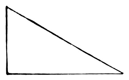 The image showing a triangle A right angle is any triangle having a right angle, vintage line drawing or engraving illustration. Illustration