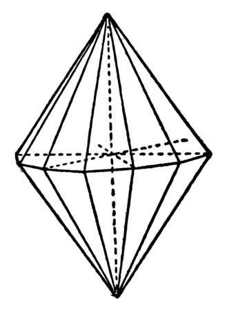 Dihexagonal pyramid base consists of two hexagonal pyramids based on the base, vintage line drawing or engraving illustration.