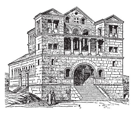 Turmanin is a town in northern Syria and administratively part of the Idlib Governorate located north of Idlib, vintage line drawing or engraving illustration. Illustration