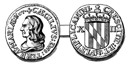 The Maryland Shilling is part of a private coinage issued by Cecil Calvert, vintage line drawing or engraving illustration.