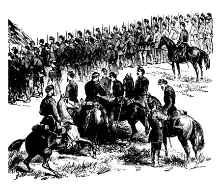 Battle of Malvern Hill fought on 1st july 1862 between Confederate army of Northern Virginia and Union Army of Potomac vintage line drawing.