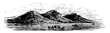 Trimountain is a trap rock mountain which is a part of Metacomet ridge known for its unique climate ecosystem vintage line drawing. 版權商用圖片 - 133362239