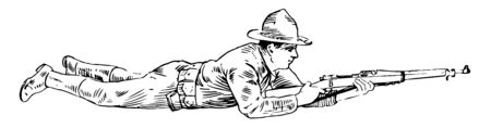 Lying Down where the left hand steadies and supports the piece at the balance the toe of the butt resting on the ground, vintage line drawing or engraving illustration.