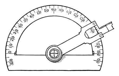A math tool used for measuring angles on blueprints. It has a tool to adjust the screw and the pointed bar outside to adjust markings depending upon the requirement, vintage line drawing or engraving illustration.