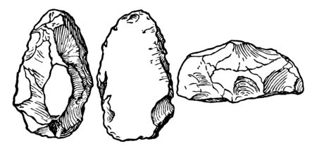 The image shows the Paleolithic Stone. It has three rostro-carinate stones. There are three hard stones, in which two are straight and another is a small flat piece, vintage line drawing or engraving illustration. Ilustração