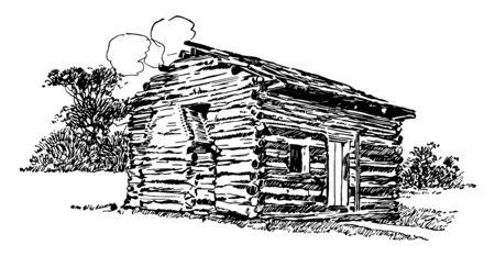 Abraham Lincoln birthplace national historical park  vintage line drawing. Ilustração