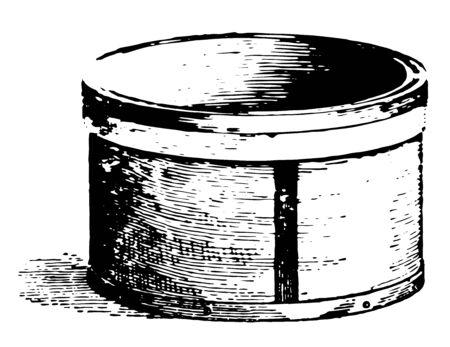A unit of dry measure equal to 8 quarts or one quarter of a bushel, vintage line drawing or engraving illustration.