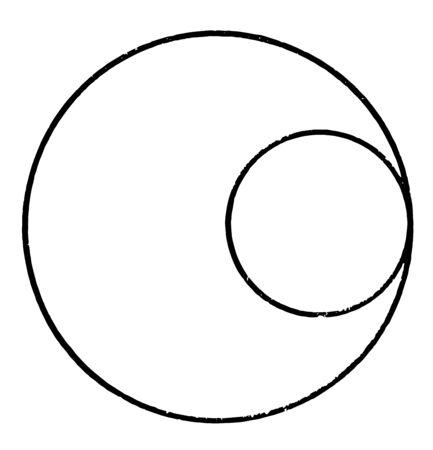 Ein Diagramm von zwei Kreisen, die intern tangential zueinander sind, Vintage-Linien-Zeichnung oder Gravierillustration.