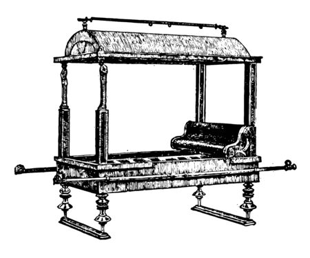 This is the image of a Roman berth. The litter consists of an ordinary sofa with four poles and a pair of poles, vintage line drawing or engraving illustration.
