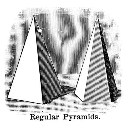 The image shows that the two regular pyramids, vintage line drawing or engraving illustration.