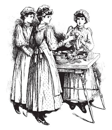 Three ladies washing plates and glasses, vintage line drawing or engraving illustration Stock Illustratie
