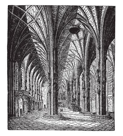 St Stephen Cathedral in Vienna in Austria in which Construction commenced in the 12th century, vintage line drawing or engraving illustration.  イラスト・ベクター素材