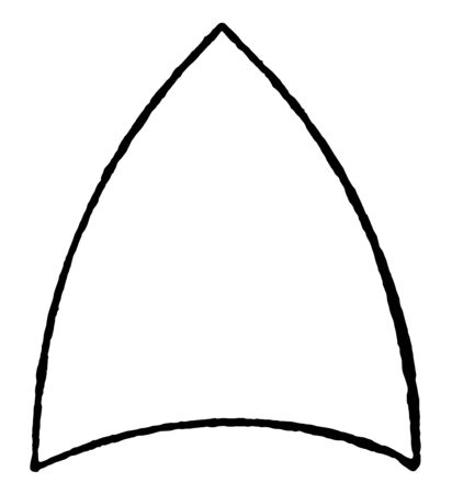 An image of a spherical triangle that is made up of the intersection of the polar arcs of a sphere, vintage line drawing or engraving illustration.