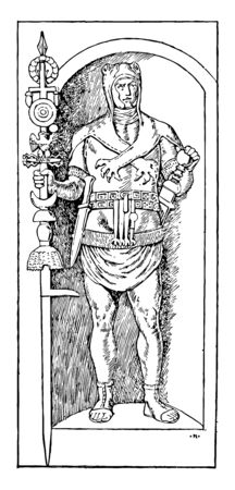 This is the image of a standard Bearer. Roman. It consists of a spear crowned with a crown, under which there is a crossbar that carries hanging acorns, vintage line drawing or engraving illustration.