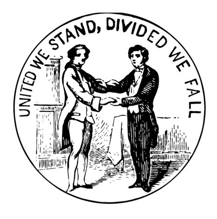 Seal of commonwealth of Kentucky includes two men standing in buckskin and other in formal dress clasping hands vintage line drawing.