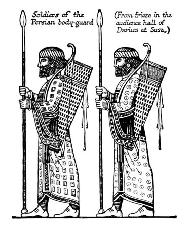 Soldiers of the Persian bodyguard. From the frieze in the courtroom of Darius in Susa, vintage line drawing or engraving illustration.