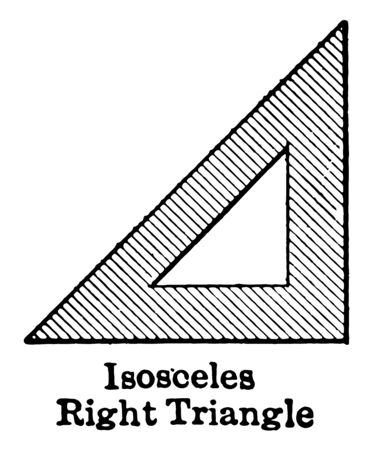 This is an image of isosceles right triangle. All angles of this triangle are the same, vintage line drawing or engraving illustration.