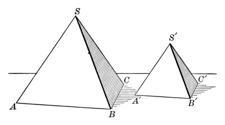 A diagram of two similar Tetrahedra. The volumes of two similar Tetrahedra are for each other as the cubes of their corresponding (corresponding) edges, vintage line drawing or engraving illustration.