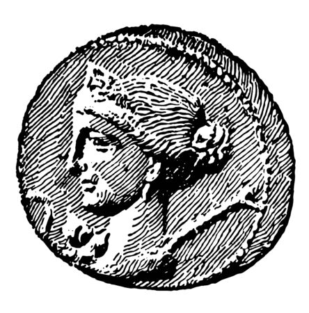 A coin in relief with the image of a queen, vintage line drawing or engraving illustration. Ilustrace