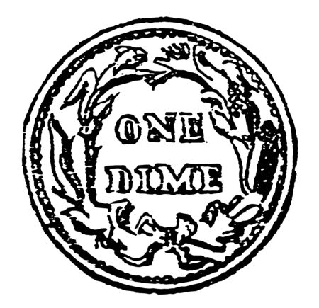 This is a penny coin in the United States, of the value of ten cents, vintage line drawing or engraving illustration. Illusztráció